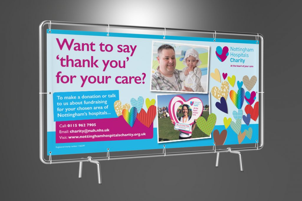 Nottingham Hospitals Charity 'Want to say thank you for your care?' banner