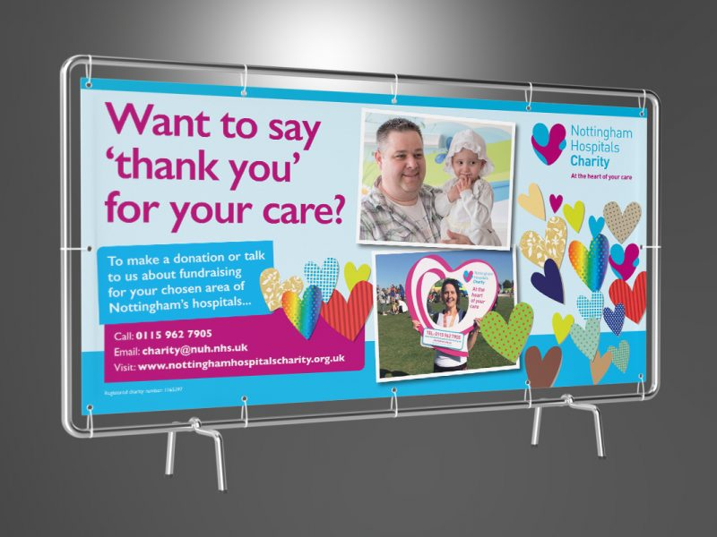 Nottingham Hospitals Charity 'Want to say thank you for your care?' banner  Exhibitions & Banners NHC Thank you Banner 800x600