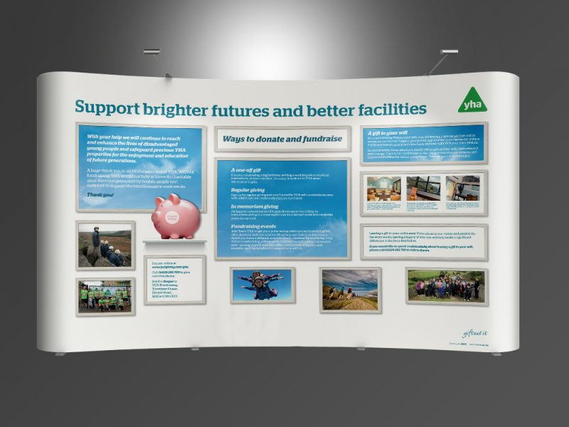 YHA Fundraising Stand  Exhibitions & Banners YHA Fundraising Twist Stand v1 800x600