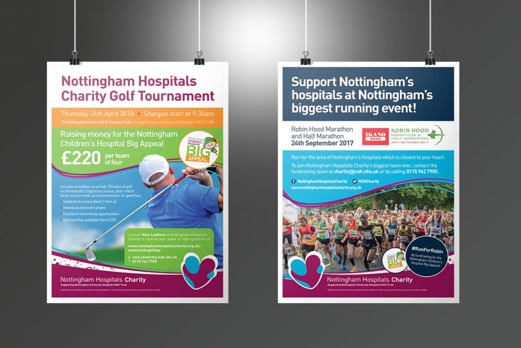 Nottingham Hospitals Charity Events posters